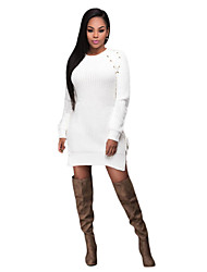 Women's Knit Lace up Side Long Sleeves Sweater Dress