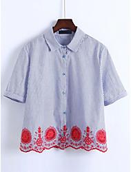 Damen Gestreift Einfach Ausgehen T-shirt,Gekerbtes Revers Frühling Sommer Kurzarm Baumwolle
