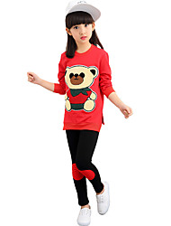 Girl's Going out Casual/Daily Sports Bear Patchwork Cotton Spring/Fall Long Sleeve Tee Blouse Pant 2 Piece Clothing Set Children's Garments