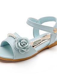 Girls' Sandals Spring Summer PU Wedding Dress Party & Evening Flat Heel Pearl Beige Blushing Pink Light Blue