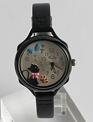 Women's Kids' Fashion Watch Wrist watch Quartz Large Dial PU Band Cartoon Casual Cat Unique Creative Black