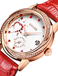 Damen Modeuhr Quartz Echtes Leder Band Rot Rosa Rose Marke