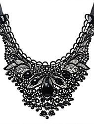 Воротничок Заявление ожерелья Драгоценный камень Кружево Резина Кисточки Euramerican Заявление ювелирные изделия Мода Черный БижутерияДля