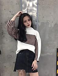 signe version coréenne a frappé la femelle pull lâche petit col bande de couleur large chandail à manches