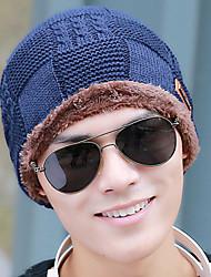 Unisex Autumn Winter Leather Square Lattice Plus Velvet Ski Outdoor Warm Knitted Hat