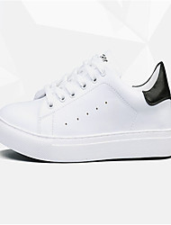 Men's Sneakers Spring Summer Comfort PU Outdoor Casual Low Heel White Black/White White/Green Walking