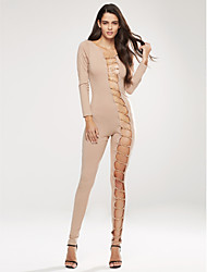 Women's Lace up Petite Skinny Jumpsuits,Work / Club Sexy Solid Round Neck Long Sleeve Mid Rise Spandex Micro-elastic Spring / Fall
