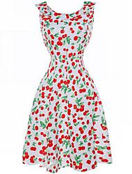 Women's Casual/Daily Simple Swing Dress,Print Round Neck Knee-length Sleeveless White Acrylic Summer Mid Rise Inelastic Medium