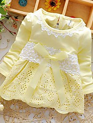 Girl's Cotton Fashion Sweet Found Collar Lace Long Sleeve Dress Hollow Out Small Flower Bow Dress