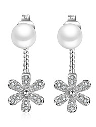 Earring 925 Sterling Silver Imitation Pearl Flower Stud Earrings Jewelry Wedding Party Daily Casual