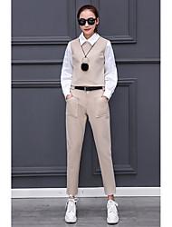 2017 весной новой моды кукла воротник фонарь рукав рубашки был тонкий досуг ноги брюки двухкусочные женщин