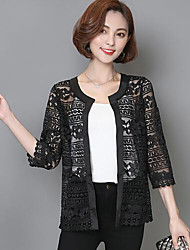 Women's Lace Casual/Daily Simple Summer Fall Jacket,Solid Round Neck ¾ Sleeve Short Cotton Lace