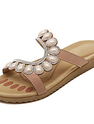 Women's Slippers & Flip-Flops Spring Summer Fall PU Dress Casual Flat Heel Rhinestone Almond Royal Blue