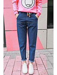 Sign Leather 2017 spring new elastic waist was thin denim harem pants female