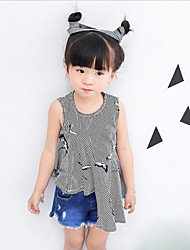 Casual/Daily Beach Holiday Striped Print Shirt,Cotton Summer Sleeveless Short
