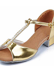 Kids Dance Shoes Synthetic Synthetic Latin Sandals Heels Chunky Heel Performance Silver Gold Customizable