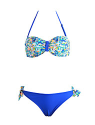 Women's Bandeau Push Up Floral Twist Beach Wear Swimwear Bikini