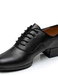 Men's Dance Shoes Leather Leather Latin / Ballroom Heels Low Heel Professional / Indoor / Performance / Practice