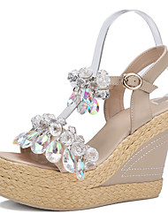 Women's Sandals Spring Summer Fall Club Shoes Cowhide Synthetic Office & Career Party & Evening Dress Wedge Heel Rhinestone Almond