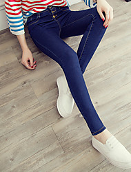 Spring high waist jeans breasted female feet pants stretch thin pencil pants tight long Sign