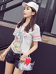 Sign 2017 summer new small V-neck cartoon dwarf letters printed loose T-shirt casual shirt female