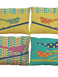 Set of 4 Oil painting bird  pattern Linen Pillowcase Sofa Home Decor Cushion Cover
