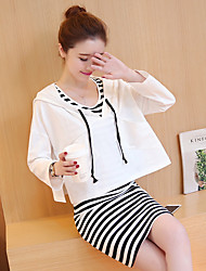 Sign 2017 spring new Korean women casual loose striped two-piece dress