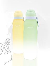 drinkware de sport, 600 ml pliable roll-up silicone portable bouteille d'eau avec mousqueton