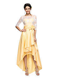 LAN TING BRIDE Asymmetrical Jewel Bridesmaid Dress - Open Back 3/4 Length Sleeve Lace Taffeta