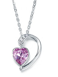 Pendant Necklaces Crystal Sterling Silver Heart Basic Heart Silver Jewelry Daily Casual 1pc
