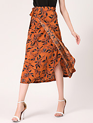 A Line Print Patchwork Skirts,Casual/Daily Beach Simple Mid Rise Midi Elasticity Polyester Micro-elastic Spring Summer