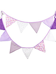 3.2m 12 Flags Purple Banner Pennant Cotton Bunting Banner Booth Props Photobooth Birthday Wedding Party Decoration