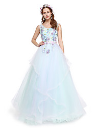 Formal Evening Dress - Elegant A-line Straps Floor-length Lace Tulle with Appliques Beading Sash / Ribbon Pleats