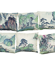 Set of 6 Chinese Painting Linen Home Office Sofa Square Pillow Case  Nordic Style