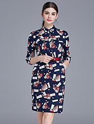Feminino Evasê Bainha Sereia Vestido,Trabalho Festa/Coquetel Sofisticado Estampado Colarinho Chinês Acima do Joelho Manga ¾ Azul Algodão