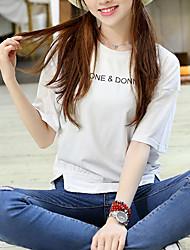 2107 Zeichen Europa Station schlank mitfühlend Baumwolle Rundhals Kurzarm-T-Shirt Frauen Kurzhülse Hemd