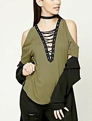 Tee-shirt Femme,Couleur Pleine Décontracté / Quotidien Chic de Rue Eté Sans Manches Epaules Dénudées Coton Moyen