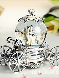 The Wedding Bride Resin Decoration Car Crystal Ball Rotary Music Box Creative Wedding Gift