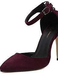 Damen-High Heels-Kleid-Vlies-StöckelabsatzSchwarz Burgund