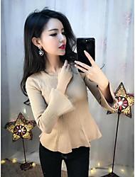 sexy taille chemise serrée manches corne col rond en tricot