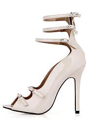 Women's Sandals Summer Comfort Light Up Shoes PU Office & Career Dress Party & Evening Stiletto Heel Black Ivory