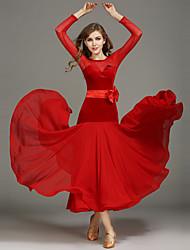 Ballroom Dance Dresses Women Performance Chiffon Velvet Sash/Ribbon Splicing 2 Pieces Long Sleeve Natural Waist Belt Dress