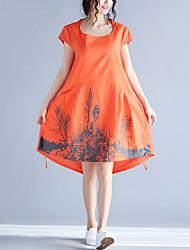 Ample Robe Femme Décontracté / Quotidien simple,Imprimé Col Arrondi Mi-long Manches Courtes Orange Coton Lin Eté Taille NormaleNon