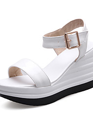 Women's Sandals Spring Summer Fall PU Office & Career Dress Party & Evening Wedge Heel White Black Blushing Pink Nude