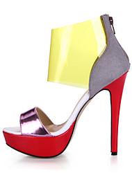 Women's Sandals Summer Comfort PU Wedding Party & Evening Dress Casual Stiletto Heel Silver Multi-color