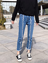 2017 new spring models waist straight intermediate characteristic nine points jeans female fringe