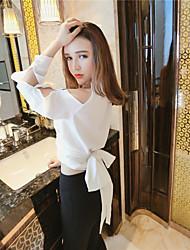 * Korea Circle Halter V-neck strapless waist was thin lace blouse women