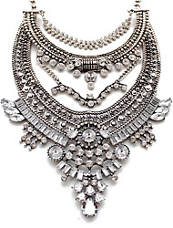 Women's Statement Necklaces Jewelry Gemstone Alloy Jewelry Fashion Personalized Euramerican Vintage Victorian Statement Jewelry Silver