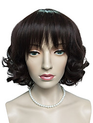 Dark Auburn Short Bob Wig Synthetic Fiber Wig Hairstyle Natural Wavy Costume Wigs Cosplay Wigs
