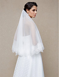 Wedding Veil One-tier Elbow Veils Dot Lace Applique Edge Net